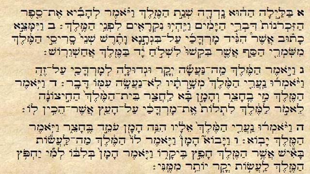 """""""בלילה ההוא נדדה שנת המלך ויאמר להביא את ספר הזכרונות דברי הימים..."""" - פרק ו"""